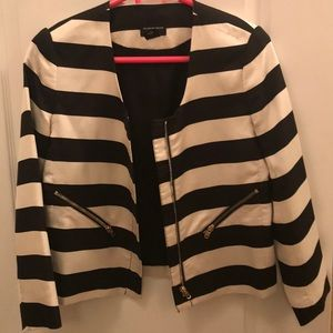 Club Monaco b/w striped blazer